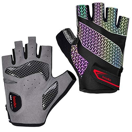 Boodun, guanti da ciclismo per uomo/donna, mezze dita, riflettenti, traspiranti, antiscivolo, con cuscino d'aria sul palmo - L