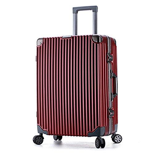 24 Pulgadas Caja de Varilla de tracción Venta al por Mayor Maleta Antigua Fabricante Chasis Marco de Aluminio Bloqueo de Color a Juego Universal Rueda de Viaje felices juntos (Color : Red)