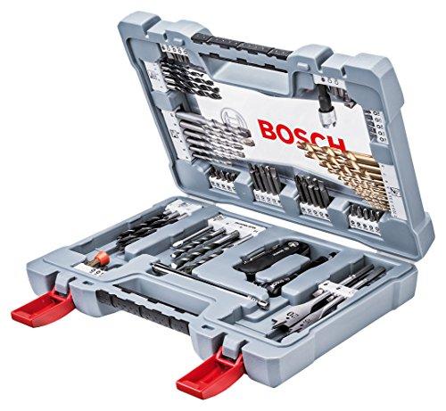 Bosch Professional Bits/Bohrer Premium Set (Betonbohrer, Fliesenbohrer, Universalhalter, Tiefenstopp, Ratschenschrauber Titan-Nitrid-Beschichtung im stabilem Koffer, 76-teilig)