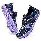 CIOR Boys & Girls Water Shoes Quick Drying Sports Aqua Athletic Sneakers Lightweight Sport Shoes(Toddler/Little Kid/Big Kid) U1ELJSX013-Navy.purple-34