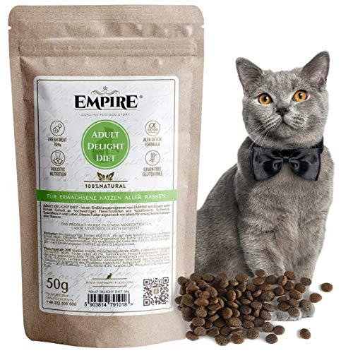 Empire Trockenes Katzenfutter | 50g | Premium Getreidefreies Trockenfutter für Erwachsene Katzen | hoher Fleischgehalt | 100% Natürlich & Glutenfrei | GVOFrei