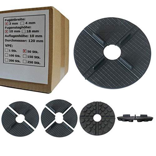 50 x SANPRO Flaches Gummi Stelzlager - Plattenlager 3 mm Fuge / 10 mm Höhe