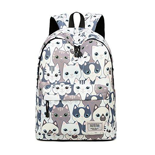 Joymoze Moderna Mochila de Ocio para Niñas Mochila Escolar para Adolescentes Mochila Bolso Estampado para Mujer (Gato)