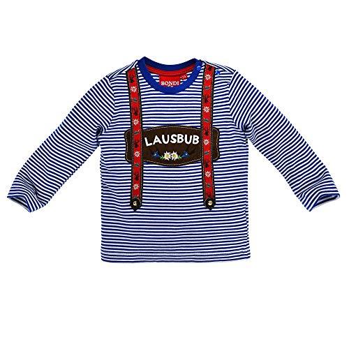 BONDI Trachten Hosenträger Langarm Shirt Lausbub 91321 - Blau Weiß Geringelt Gr. 86