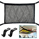 WARMQ Car Interior Ceiling Cargo Net Storage, 31'x23' Double-Layer Car Roof Mesh Organizer with Seat Hook, Universal for Car SUV with 4 Roof Handles