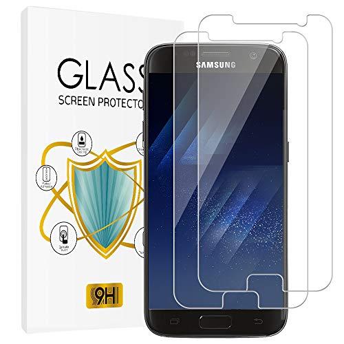 wsky [2 Stück] Panzerglas Schutzfolie für Samsung Galaxy S7, 9H-Härte, Ultra-Klarheit, Anti-Scratch, Anti-Fingerabdruck, Fallfreundlich Displayschutzfolie für Samsung Galaxy S7