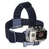 USA Gear Correa para la Cabeza Soporte para cámara de acción GoPro con Banda elástica, Adaptador de Gancho en J y trípode - Compatible con GoPro Hero 6 Black, YI 4K, AKASO EK7000 y más