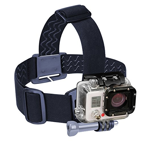 Head Strap GoPro Action Camera Mount with Stretch-Fit Band , J Hook & Tripod Adapter by USA Gear - Works With GoPro HERO 6 Black , HERO5 Black/Session , Drift Ghost-S , YI 4K , AKASO EK7000 & More