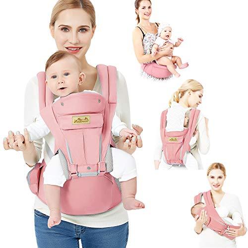 Viedouce Babytrage Ergonomische mit Hüftsitz/Reine Baumwolle Leicht und atmungsaktiv/Multiposition:Dorsal, Ventral, Einstellbar für Neugeborene und Kleinkinder von 3-48 Monate (3,5 bis 20 kg)