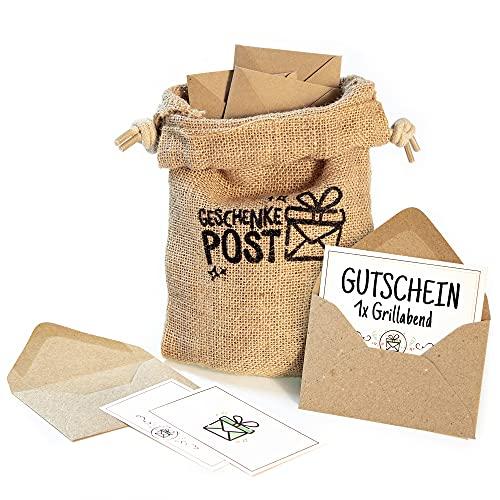 Geschenkepost Postsack mit 12 Briefumschlägen für Geldgeschenk oder Gutscheine, ein Beutel bedruckt aus Jute, 12 Umschläge aus Kraftpapier, inkl. 12 Kärtchen