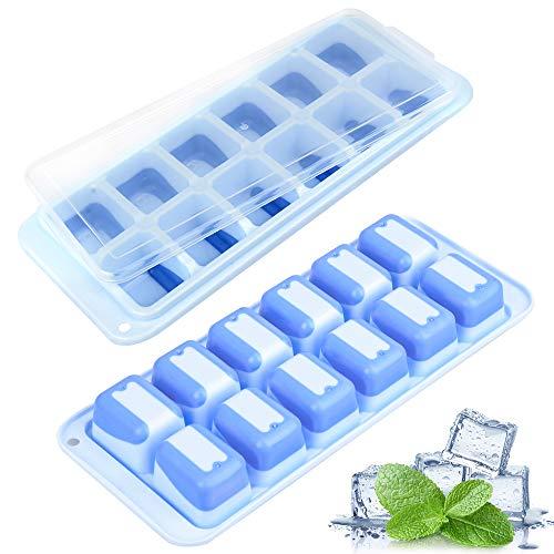 Eiswürfelform Silikon, MMTX Eiswürfelbehälter Mit Deckel, Eiswürfelform Ice Cube Tray BPA-freie, Stapelbar und Spülmaschinenfest Eiswürfelformen
