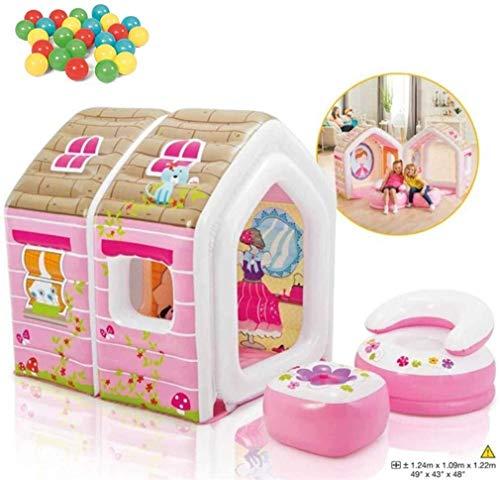 ZHUYU Casa de la princesa de dibujos animados tienda de castillo inflable con niños Sofá inflable 25 de la bola del océano y la bomba eléctrica de interior y al aire libre Zona de juegos for niños Jar