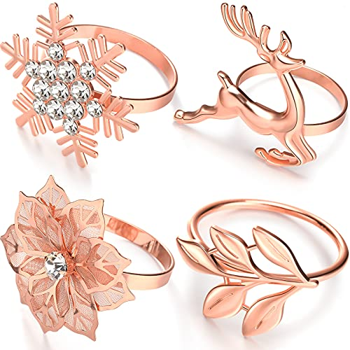 Christmas Napkin Rings Metal Leaf Napkin Ring Holders Xmas Snowflake Napkin...