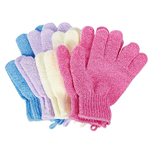 Juvale Exfoliating Shower Gloves (4-Pair) - Scrubbing Gloves, Body Scrubbers for Women and Men - (4 Colors)