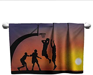 Bensonsve Floral Hand Towels Teen Room,Boys Playing Basketball at Sunset Horizon Sky with Dramatic Scenery,Dark Coral Black Yellow,Microfiber Towel for Hair