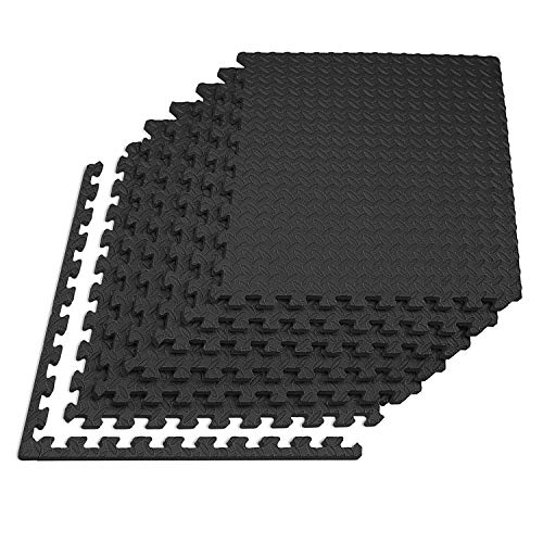 Q-Star Matte Schutzmatten Puzzlematten Unterlegmatten für Pool 20x Bodenschutz Matten Trainingsmatten Gymnastikmatte Yogamatte Pilates Fitnessraum Keller Garage (Schwarz, 30cm x 30cm x 1cm - 20er Set)
