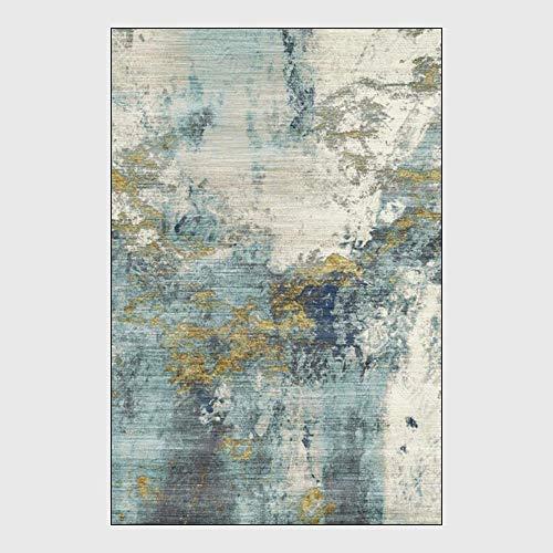 Teppiche und Teppiche für Wohnzimmer Modernen Nordic Abstrakt Blau Gelb Tinte Wohnzimmer Schlafzimmer Küche Bedside Teppichboden-Matten,60 * 90cm