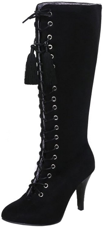 TAOFFEN Women Autumn Winter Classical High Heel Fringe Long Boots Zipper