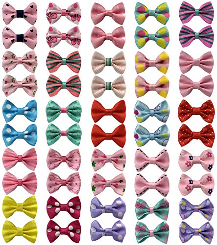 """Set of 50 Baby Girls Hair Clips, Cute Bow Hair Clips Ribbon Painless Hair Bows Barrettes for Baby Girls Toddlers Kids (1.57"""" in Diameter)"""