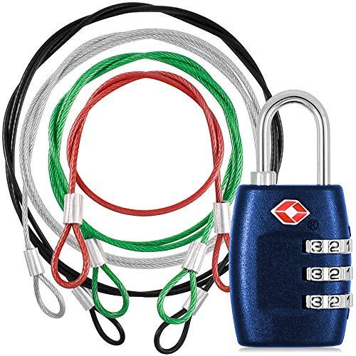 YuCool, lucchetto approvato TSA e cordino di sicurezza in acciaio inox, con combinazione a 3 cifre, con cavo di sicurezza per proteggere borse, valigie, bagagli, colore: blu