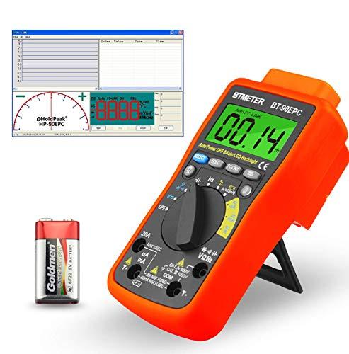 Multimetro Digitale ad Alta Tensione Autoranging BT-90EPC 4000 Conta Tester di Tensione AC DC per Corrente,Resistenza,Capacità,Temperatura,Misura della Batteria con Retroilluminazione Automatica(blu)