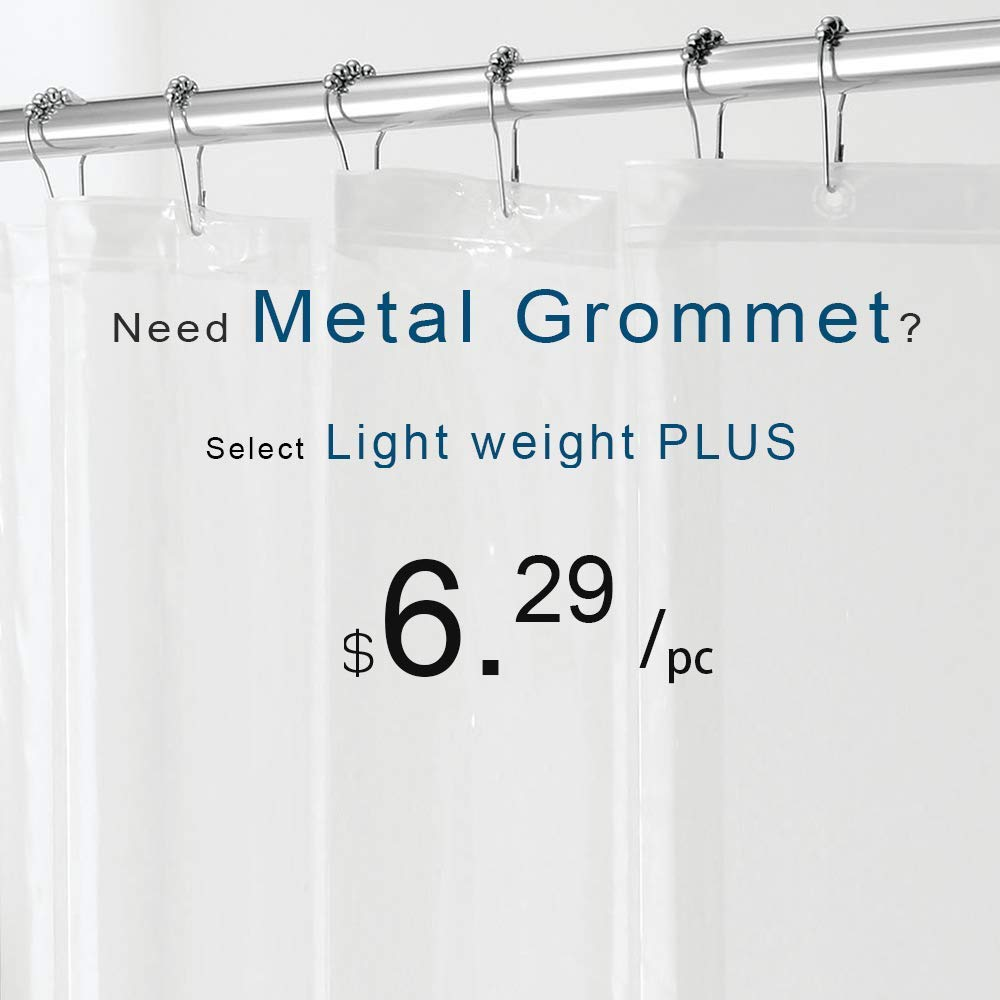 downluxe Shower Curtain Liner Clear