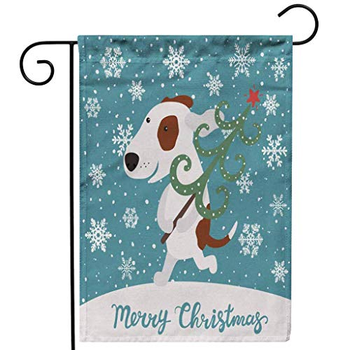Christmas Garden Flag Double Sided,Merry Christmas Santa Claus Dog Elk Garden Flag Family Decoration Flag 30x45cm