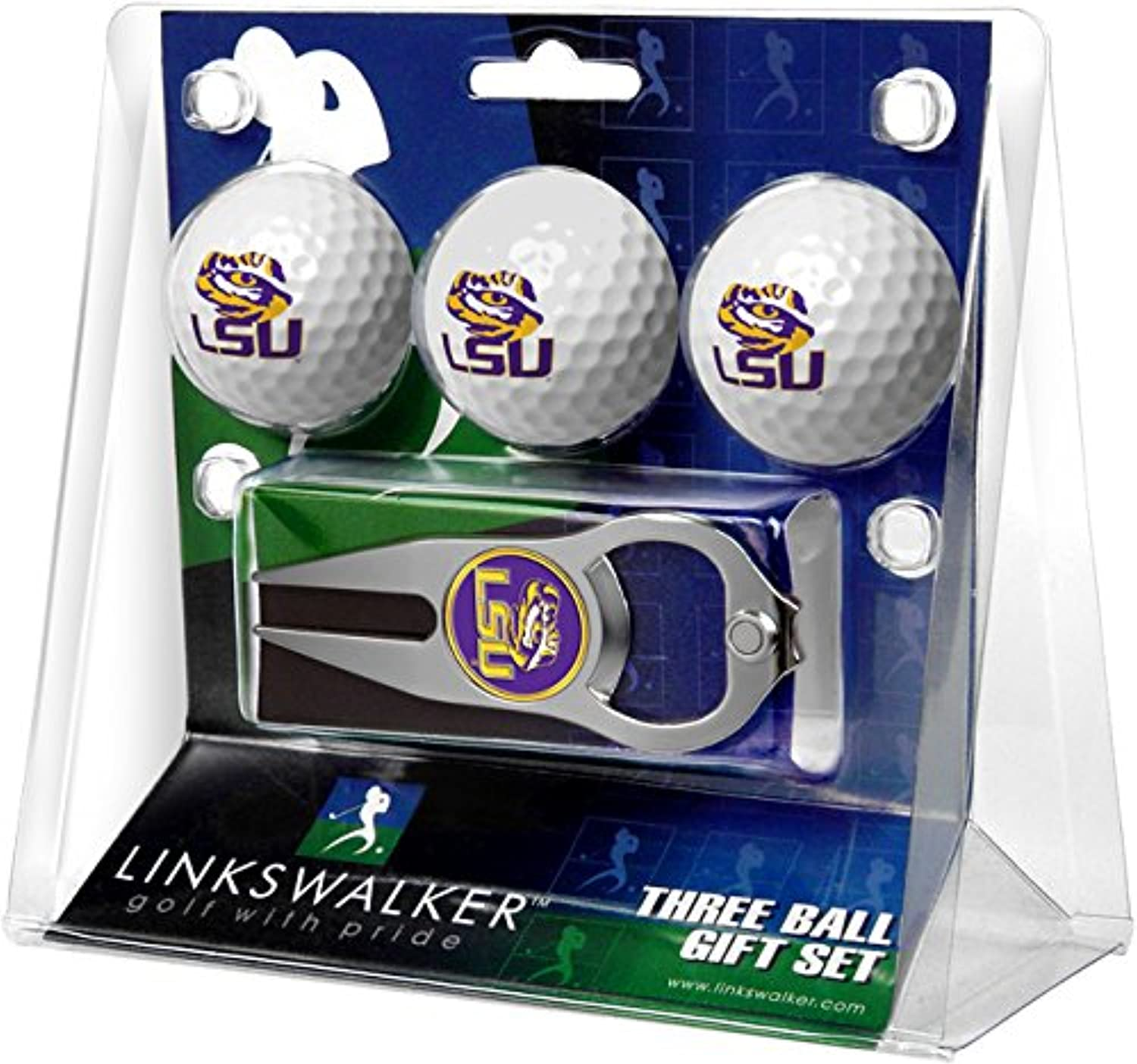NCAA LSU Tigers  3 Ball Gift Pack with Hat Trick Divot Tool