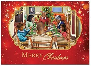 African American Expressions - Family Christmas Dinner/Merry Christmas Boxed Christmas Cards (15 cards, 5