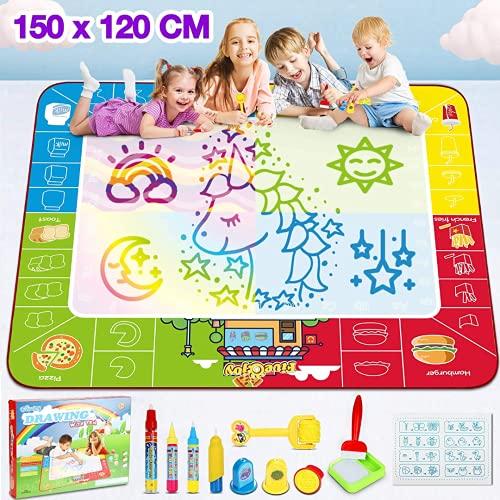 Fivejoy Doodle Tappeto Magico , 150*120cm Grande Tappeto da Colorare Bambini Tema dello Chef di Cibo - Tappeto Magico Bambini con Pennello, Tappeto per Disegnare Bambini