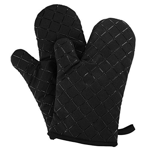 Aicok Ofenhandschuhe, Extrem Hitzebeständige Grillhandschuhe, Anti-Rutsch Backofen Handschuhe, zum Kochen, Backen, Barbecue Isolation Pads, Schwarz, 1 Paar