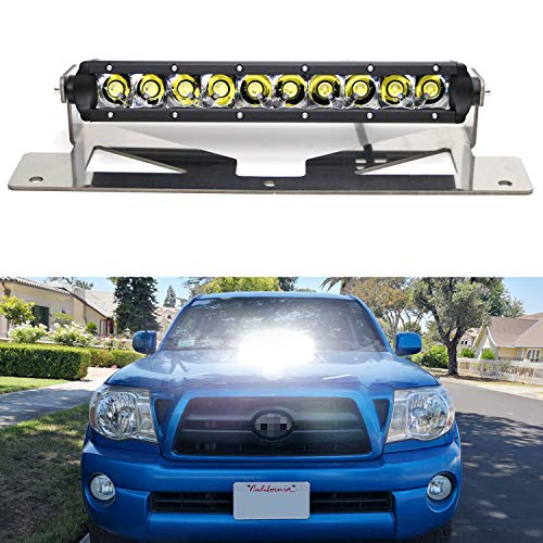 iJDMTOY Hood Scoop Mount LED Light Bar Kit Compatible With 2005-2011 Toyota Tacoma, Incl (1) 50W High Power CREE LED Lightbar, Hood Bulge Stainless Steel Mounting Brackets & Wiring Switch