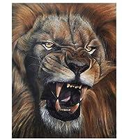 手描きの凶暴なライオン5Dダイヤモンド絵画アートフルドリルセット、家の壁の装飾のためのアートクラフトサプライ、ラインストーン貼り付け絵画。
