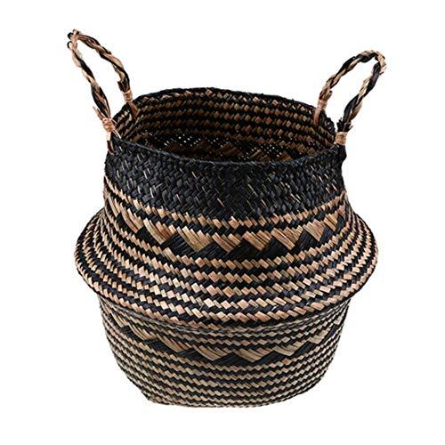 SASDA Seagrass Basket WHISM Foldable Handmade Rattan Woven Flower Basket Seagrass Clothing Storage Basket Home Decoration Flower Basket,K,22x20 cm