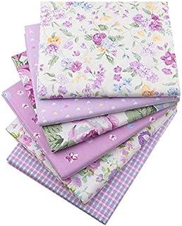 728711ce4f 6 pezzi/lotto 40 cm x 50 cm viola floreale stampato tessuto di cotone per