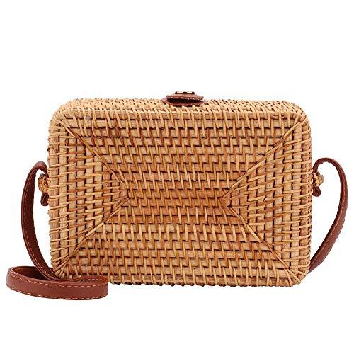 Vintage vrouwen handwerk Boheemse rechthoek rotan enkele schoudertas, rieten stro schouderriem lederen natuurlijke geweven tassen voor reizen zomer strand
