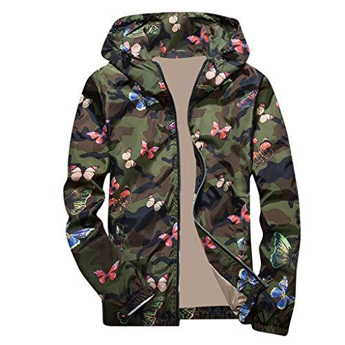 Yogogo Herren Jacke Übergangsjacke Herbstjacke Bomberjacke Steppjacke mit Kapuze Outdoor Camouflage Winterjacke Zipper Langarm Jacken Mantel Windbreaker Sweatjacke Kapuzenjacke Hoodie Warm Parka