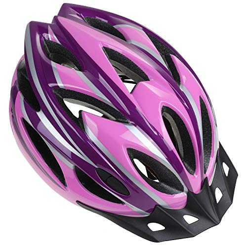 Zacro Adult Bike Helmet - CPSC Certified Cycle Helmet, Specialized for Women Safety Protection, Collocated with a Headband, Pink Plus Purple Helmet