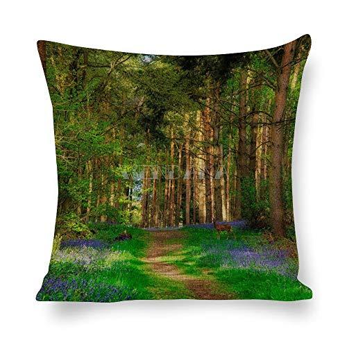 happygoluck1y Kissenbezug mit Hirsch- und Waldmotiv, 45 cm x 45 cm, Baumwollleinen, Überwurf, Kissenbezug für Sofa