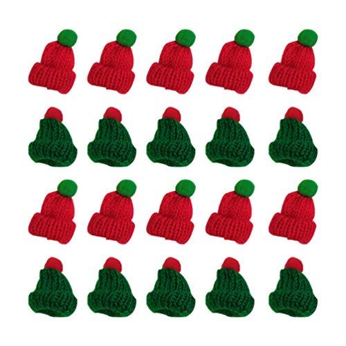 VALICLUD 20 Piezas Mini Sombrero de Santa Navidad Sombreros de Santa Claus de Punto Lollipop Top Wraps Toppers Tapa de Botella de Vino Decoración Del Árbol (Rojo + Verde)
