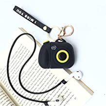 JCMY AirPods Case Cover, Casual AirPods Accessories Series, Cute Kawaii Cartoon Design, Silicone Protective Cover Skin with Keychain and Strap for Girls Teens Women(Camera Black)