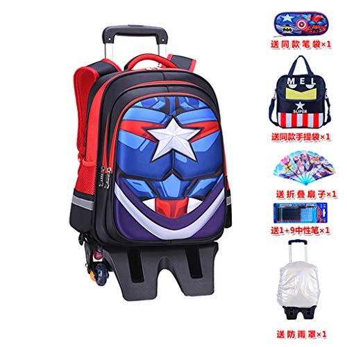 YeMao Zaino per Bambini con Ruote Captain America Spiderman, Borse per Scuola per Studenti elementari 6 Ruote per Bagagli da Viaggio con Ruote per Ragazzi, Captain America-32 * 17 * 41cm