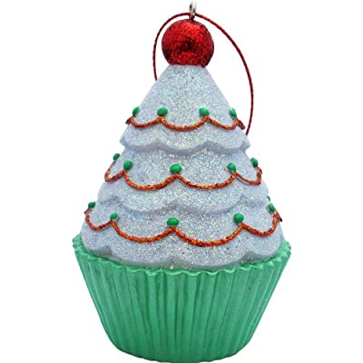 Cupcake Christmas Ornament in green liner with a white frosting tree and a red ball topper