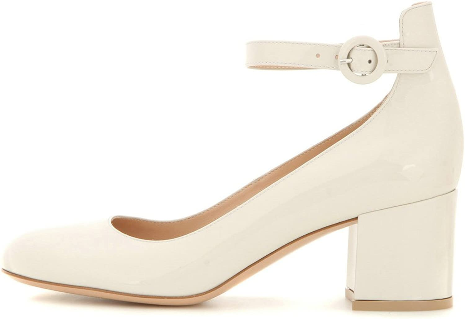 AIWEIYi Women's Fashion Round Toe Chunky High Heels Ankle Strap Party Dress Pumps Beige