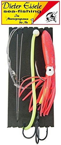 Dieter Eisele Lengsystem 1,2mm 10/0 + Drilling 8/0-10cm Oktopus pink Vorfach für Leng Meeresfischen in Norwegen Island & Dänemark