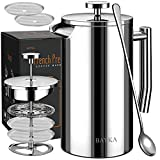 BAYKA French Press Coffee Maker, Stainless Steel 34oz Double-Wall Metal Insulated Coffee Tea Makers...