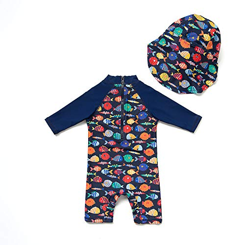 ベビー水着UPF50+UVカット男の子半袖ワンピースラッシュガードキャップ付き(Colorfulfish,80-86cm)