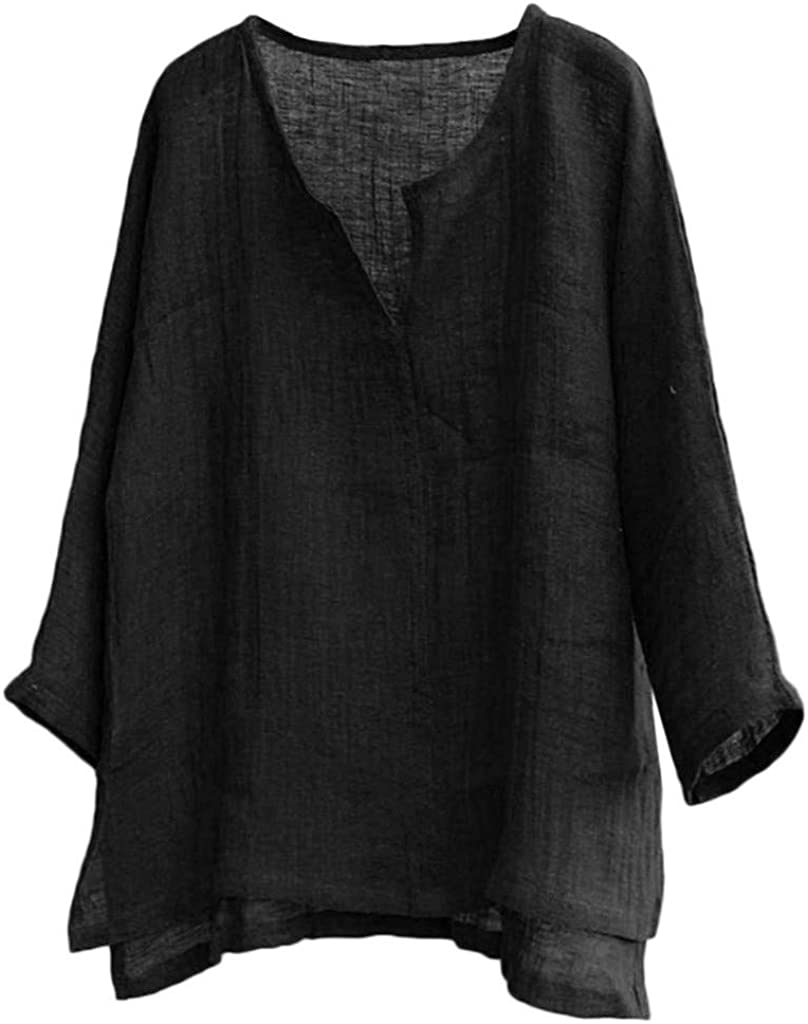 7789 Mens Cotton Linen 3 4 Neck Jumper Max 73% OFF Sleeve Blouse Breathabl Max 77% OFF V