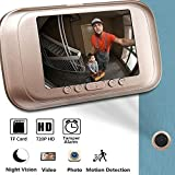 Timbre de puerta inteligente con vídeo Bluelliant 720P HD, timbre inalámbrico con pantalla de 3,5 pulgadas, visión nocturna, sistema de timbre de puerta de dos vías para la seguridad en casa
