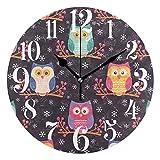AEMAPE Cute Owls Berries Reloj de Pared Redondo Vintage, Rel